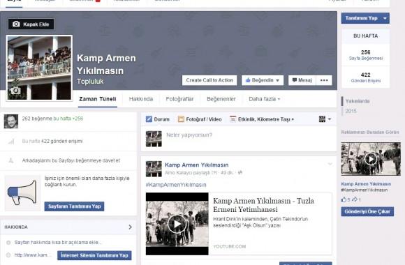 Kamp Armen Yıkılmasın Facebook Topluluğu